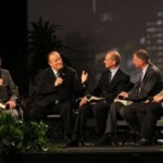 Jim Gilley, president of 3ABN (second from left), shares the need for church unity and Christian love amidst global conversations in the Seventh-day Adventist Church. The panel included (from left) Brad Thorpe, president of Adventist-owned Hope Chanel; Adventist world church President Ted Wilson; Mark Finley, evangelist and assistant to Wilson; and Danny Shelton of 3ABN. Photo: Mark Bond