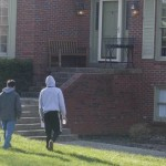 Student literature evangelists approaching a home in Louisville, Kentucky, during a GYC convention this month. Image by Seth Shaffer