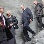 Wilson, third left, visiting the new church in Erbil, Iraq, with his wife, Nancy; Yousif, left; and Szilvasi, fourth left. Image by MENA/AR