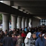 Hundreds of people waiting for free dental care at the Los Angeles Convention Center on Wednesday. Image by Tanya Musgrave/North American Division