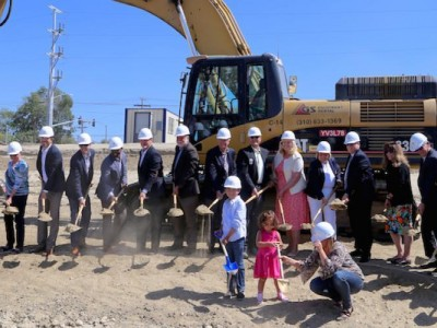 Shovels hitting the dirt at the groundbreaking ceremony at Loma Linda University Health on May 22. Image by LLUH