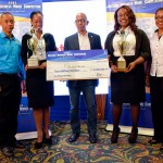 CEO of the Private Sector Organization of Jamaica Dennis Chung (left), with National Business Model Competition winners Princess Shakes and Natoy Allen (second right); Development Bank of Jamaica Managing Director Milverton Reynolds, and coordinator of the Jamaica Venture Capital Program Audrey Richards. Images courtesy of NCU.