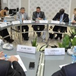Ganoune Diop, second right, and Oleg Goncharov, third right, meeting Adventist religious liberty leaders in Moscow. Image by ESD
