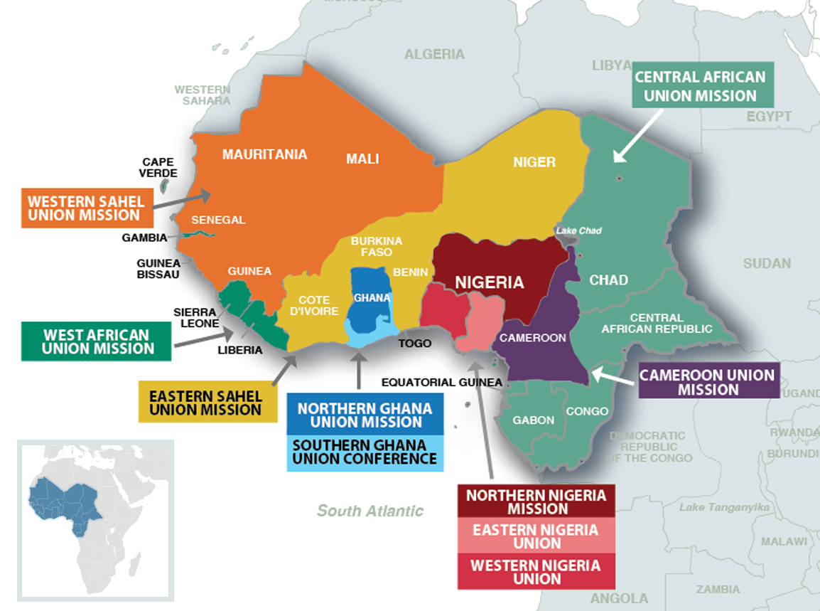 Four new unions created in WestCentral Africa Division Seventh